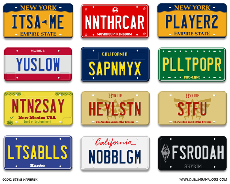 Video Game Vanity Plates
