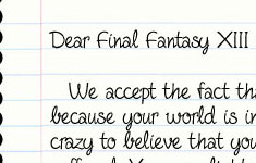 Dear Final Fantasy XIII…