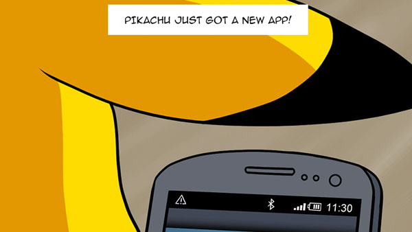Pikachu has a New App on His Phone!
