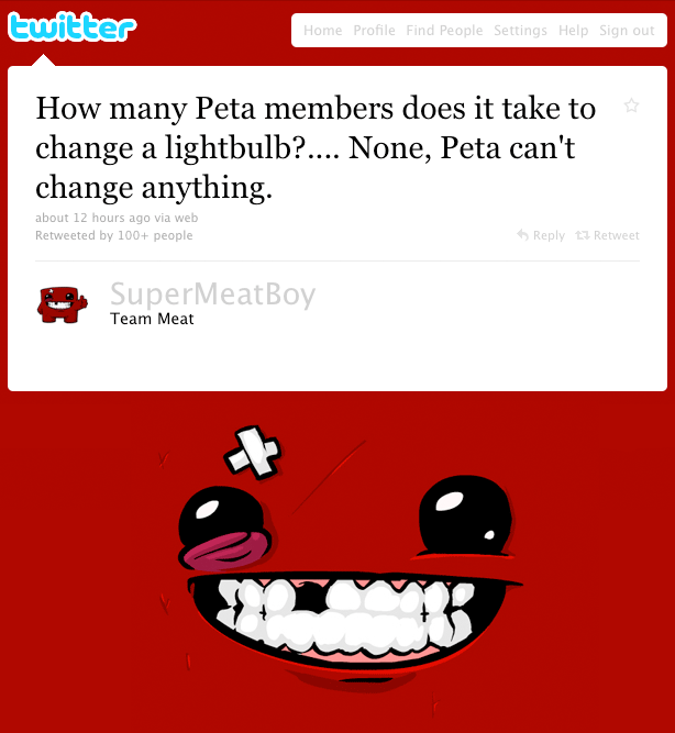 Super Meat Boy's Response to PETA