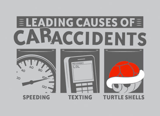 Leading Causes of Car Accidents Shirt - Speeding, Texting, Turtle Shells