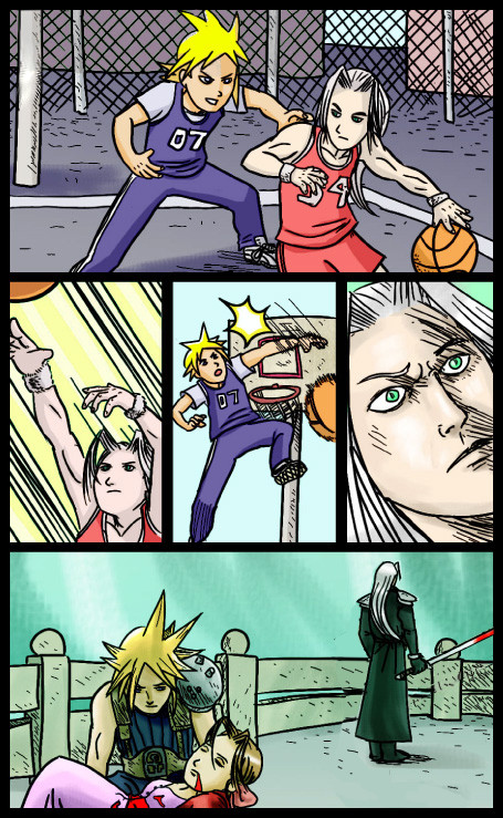 Sephiroth & Cloud Playing Basketball