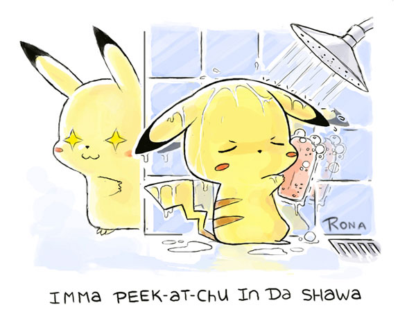 Pikachu in the Shower