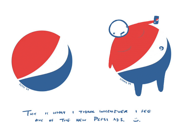 Pepsi logo is a fat guy
