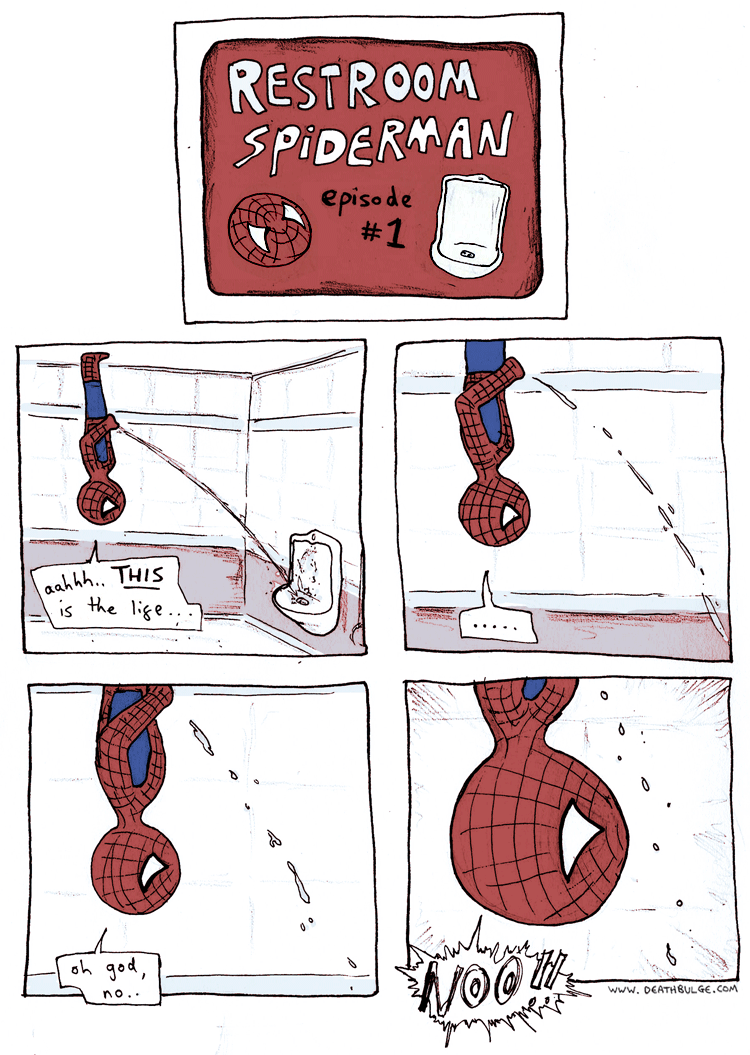 Restroom Spider-Man