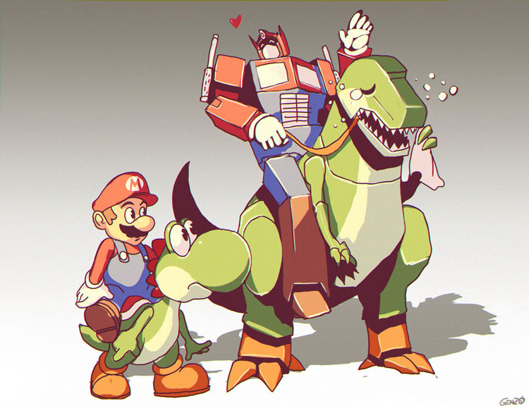 Mario and Yoshi Meet Optimus Prime and Grimlock
