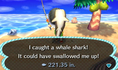 I caught a whale shark! It could have swallowed me up! - Animal Crossing