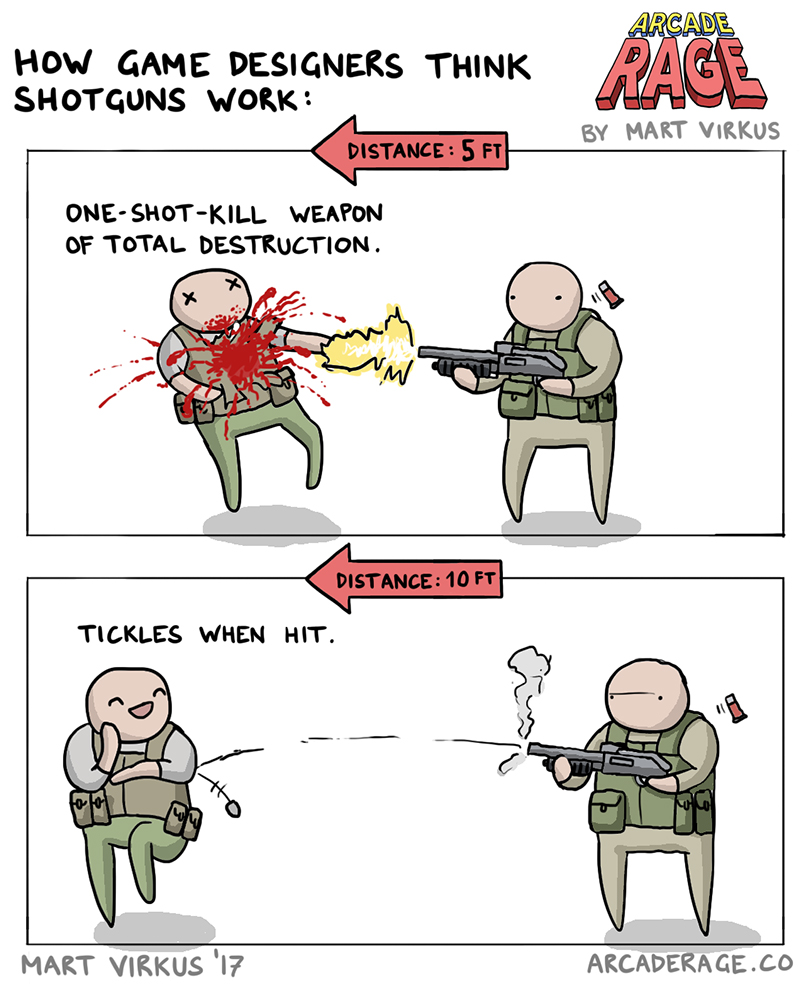 How Shotguns Work (According to Game Designers)
